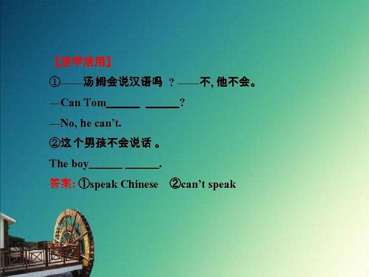 【活学活用】 ①——汤 姆会说汉语吗 ? ——不, 他不会。 —Can Tom       ? —No, he can't. ②这 个男孩不会说话