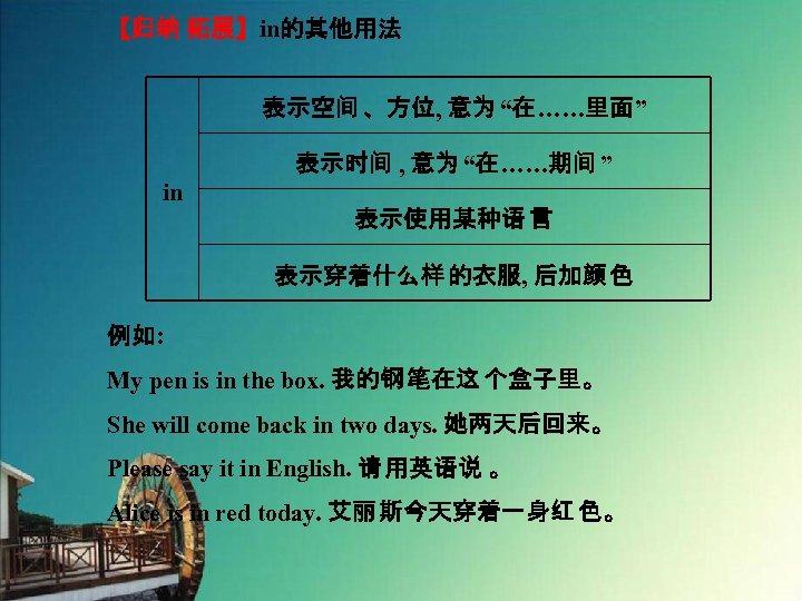 """【归纳 拓展】in的其他用法 表示空间 、方位, 意为 """"在……里面"""" 表示时间 , 意为 """"在……期间 """" in 表示使用某种语 言"""