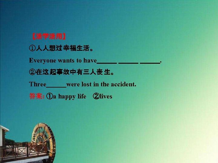 【活学活用】 ①人人想过 幸福生活。 Everyone wants to have       . ②在这 起事故中有三人丧 生。 Three   were lost in