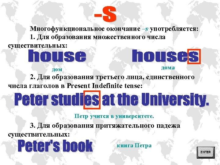 Многофункциональное окончание –s употребляется: 1. Для образования множественного числа существительных: дома дом 2. Для