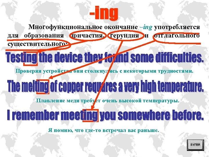 Многофункциональное окончание –ing употребляется для образования причастия, герундия и отглагольного существительного: Проверяя устройства они