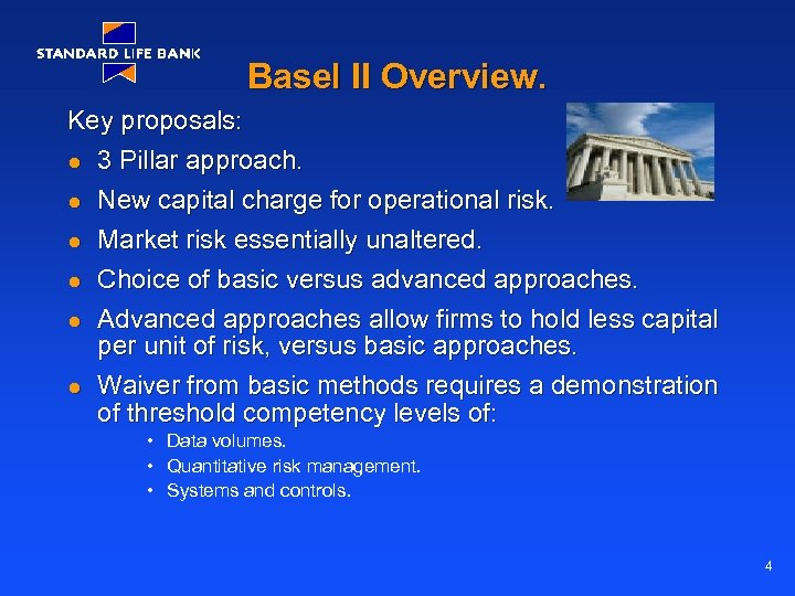 Basel II Overview. Key proposals: l 3 Pillar approach. l New capital charge for