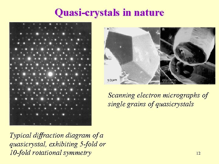 Quasi-crystals in nature Scanning electron micrographs of single grains of quasicrystals Typical diffraction diagram