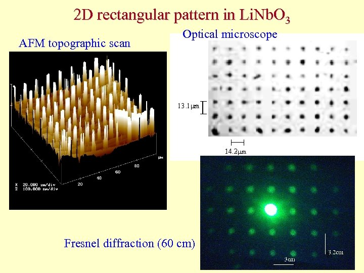 2 D rectangular pattern in Li. Nb. O 3 AFM topographic scan Optical microscope