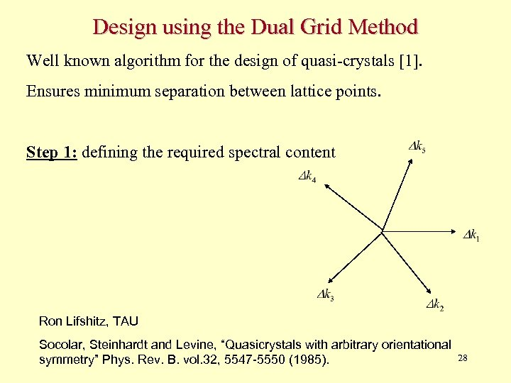 Design using the Dual Grid Method Well known algorithm for the design of quasi-crystals
