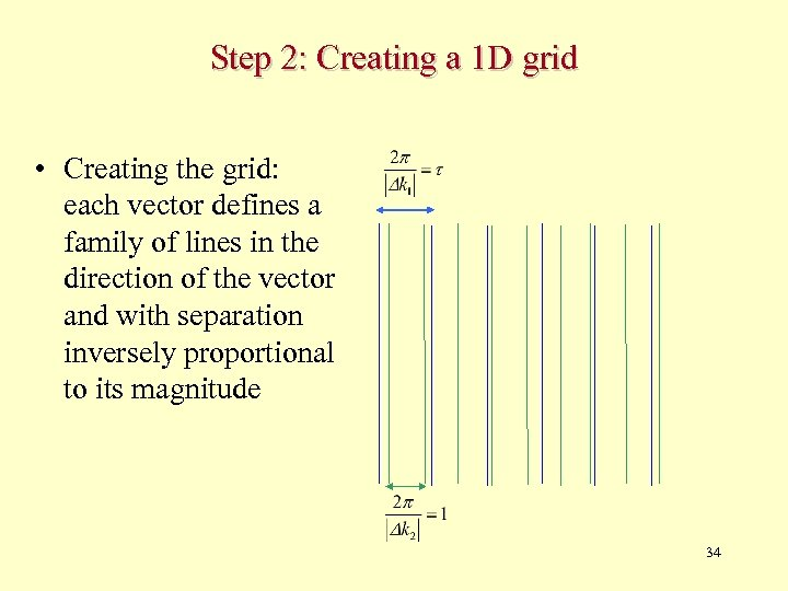 Step 2: Creating a 1 D grid • Creating the grid: each vector defines