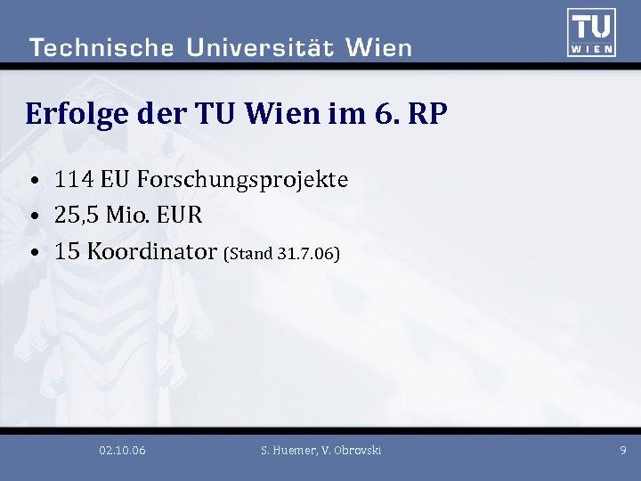 Erfolge der TU Wien im 6. RP • 114 EU Forschungsprojekte • 25, 5