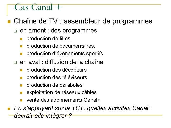 Cas Canal + n Chaîne de TV : assembleur de programmes q en amont