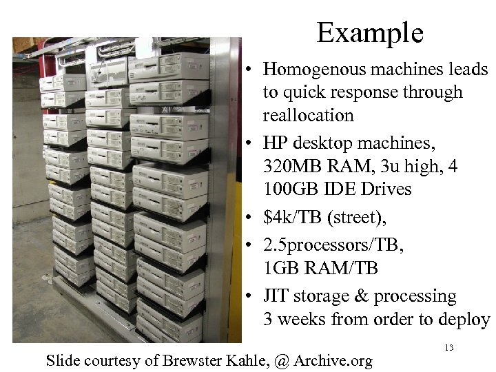 Example • Homogenous machines leads to quick response through reallocation • HP desktop machines,