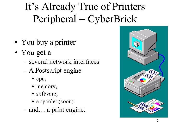 It's Already True of Printers Peripheral = Cyber. Brick • You buy a printer