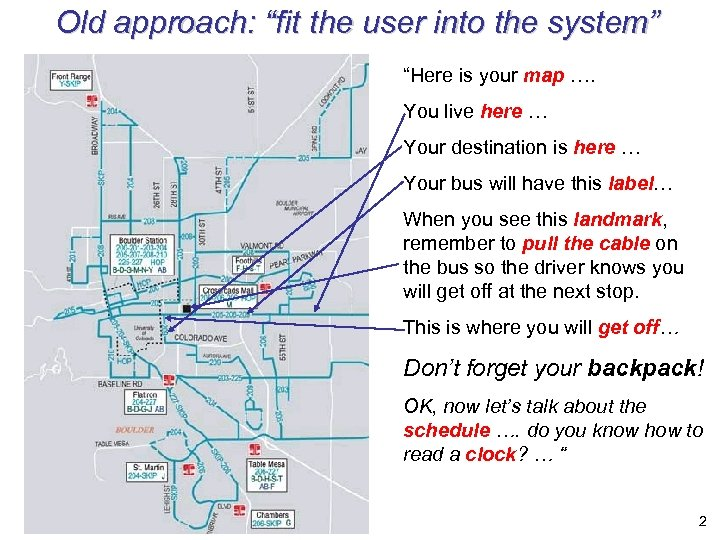 "Old approach: ""fit the user into the system"" ""Here is your map …. You"