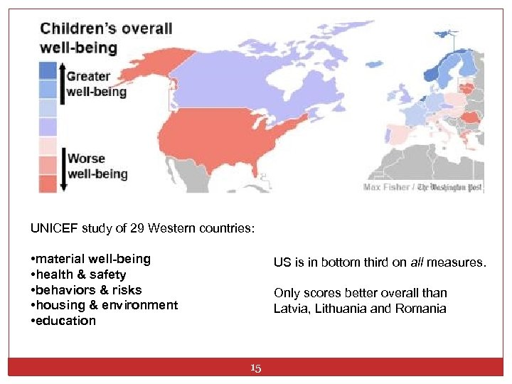 UNICEF study of 29 Western countries: • material well-being • health & safety •