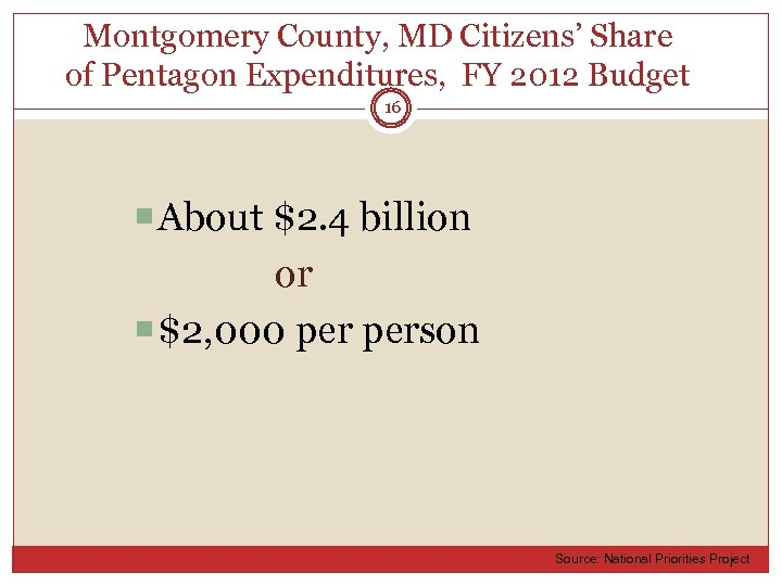 Montgomery County, MD Citizens' Share of Pentagon Expenditures, FY 2012 Budget 16 About $2.