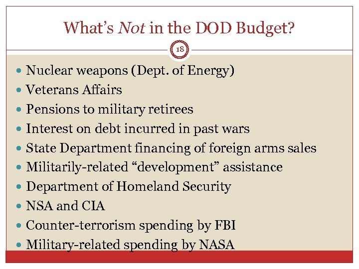 What's Not in the DOD Budget? 18 Nuclear weapons (Dept. of Energy) Veterans Affairs