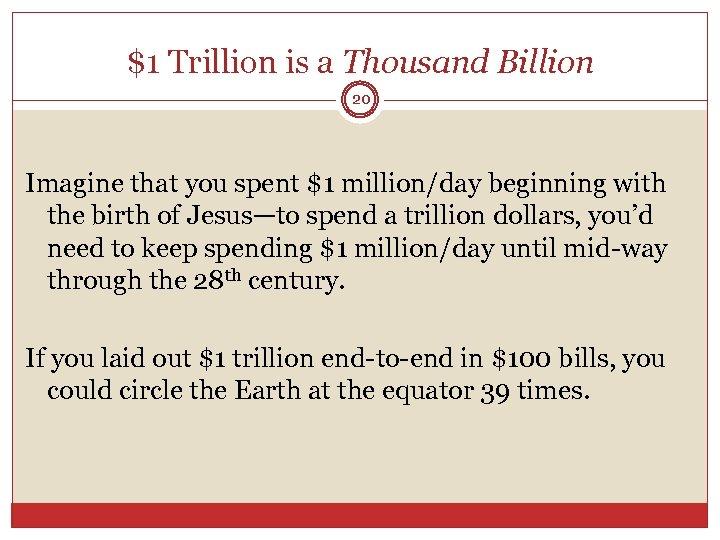 $1 Trillion is a Thousand Billion 20 Imagine that you spent $1 million/day beginning