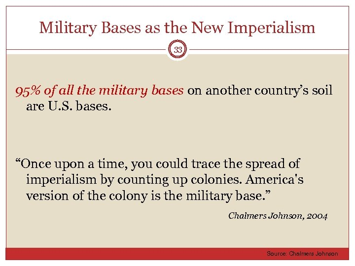 Military Bases as the New Imperialism 33 95% of all the military bases on