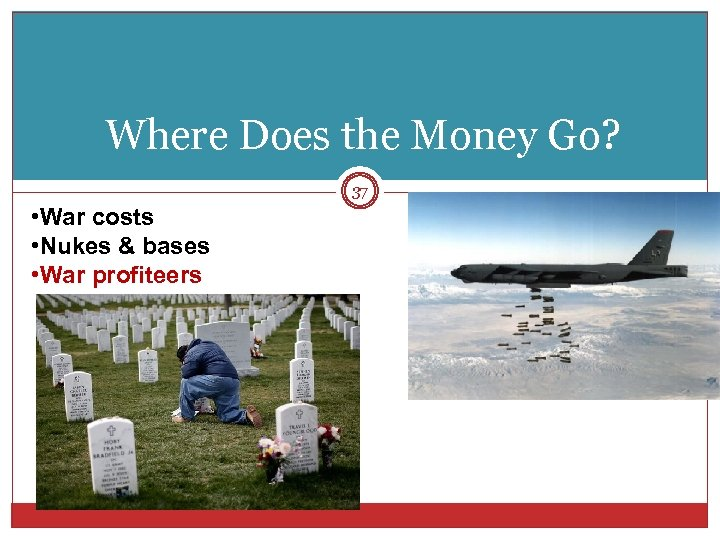Where Does the Money Go? 37 • War costs • Nukes & bases •