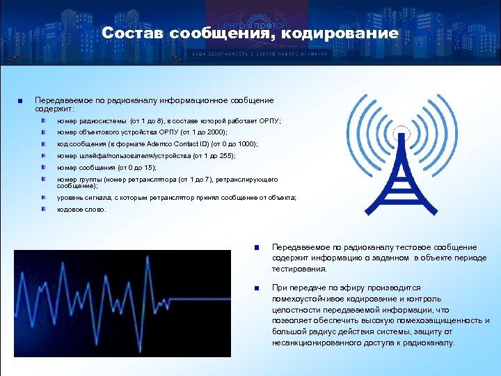 Состав сообщения, кодирование Передаваемое по радиоканалу информационное сообщение содержит: номер радиосистемы (от 1 до