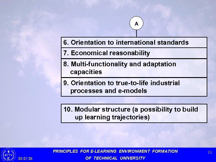 А 6. Orientation to international standards 7. Economical reasonability 8. Multi-functionality and adaptation capacities