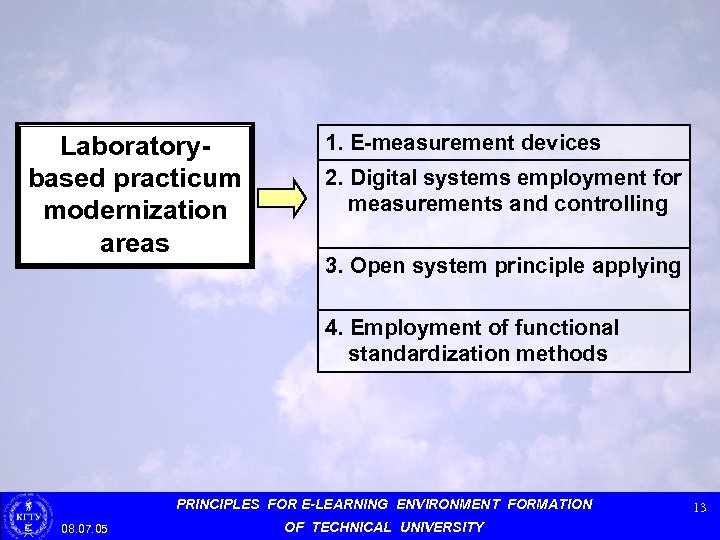 Laboratorybased practicum modernization areas 1. E-measurement devices 2. Digital systems employment for measurements and
