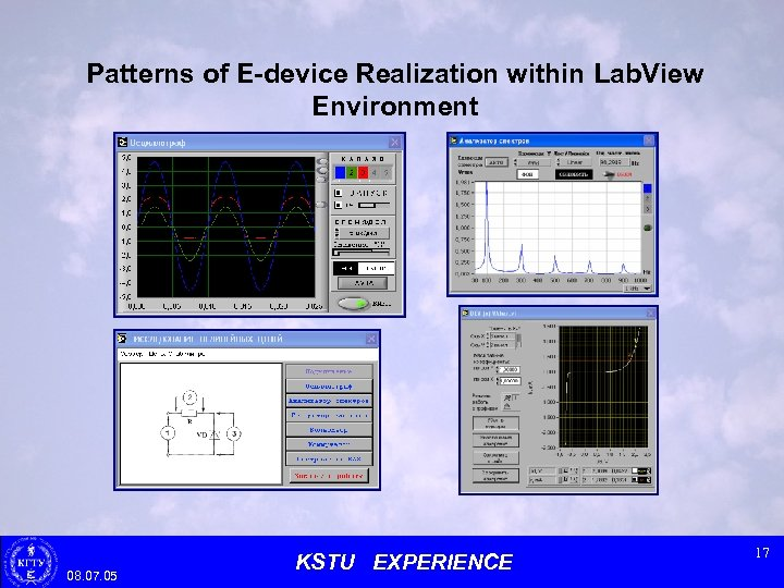 Patterns of E-device Realization within Lab. View Environment 08. 07. 05 KSTU EXPERIENCE 17