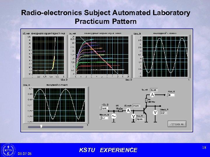 Radio-electronics Subject Automated Laboratory Practicum Pattern 08. 07. 05 KSTU EXPERIENCE 18