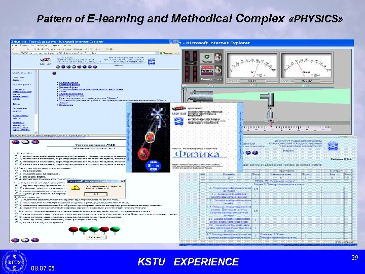 Pattern of E-learning and Methodical Complex «PHYSICS» 08. 07. 05 KSTU EXPERIENCE 29