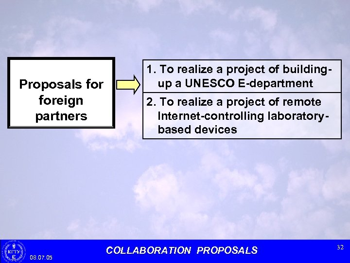 Proposals foreign partners 08. 07. 05 1. To realize a project of buildingup a