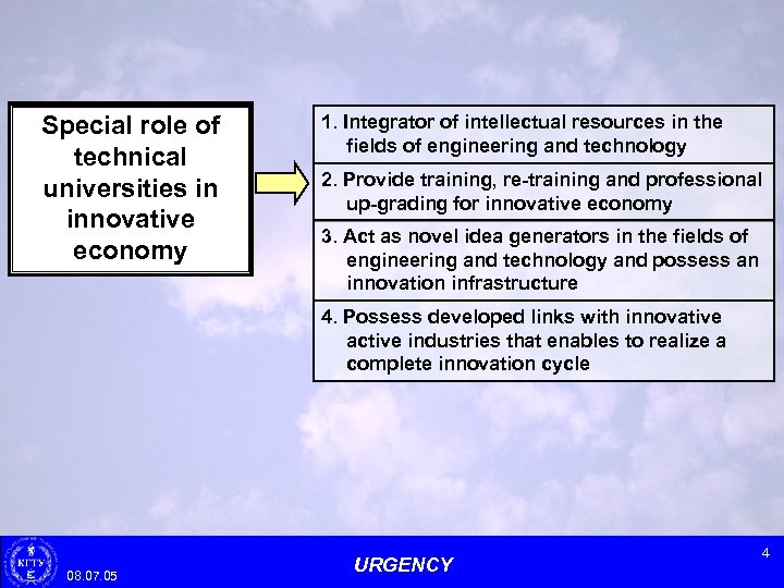 Special role of technical universities in innovative economy 1. Integrator of intellectual resources in