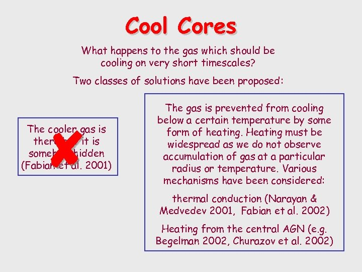Cool Cores What happens to the gas which should be cooling on very short