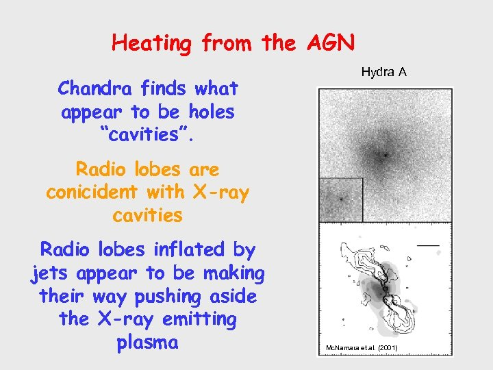 """Heating from the AGN Chandra finds what appear to be holes """"cavities"""". Hydra A"""