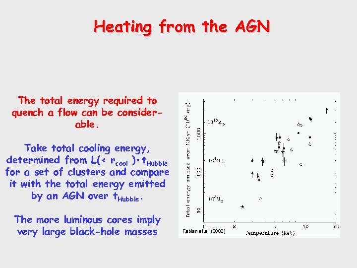 Heating from the AGN The total energy required to quench a flow can be