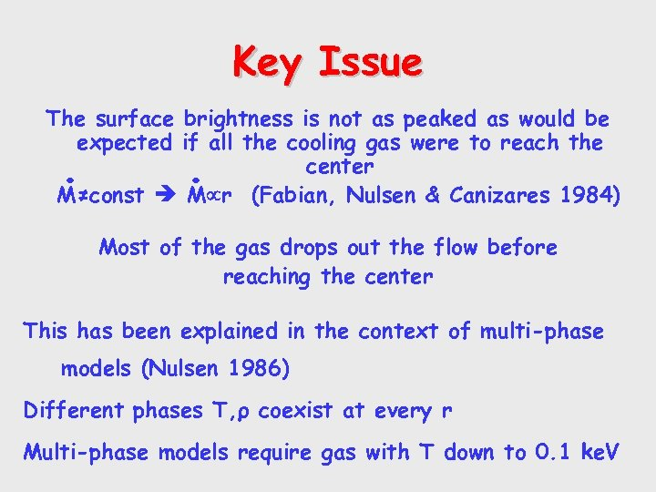 Key Issue The surface brightness is not as peaked as would be expected if