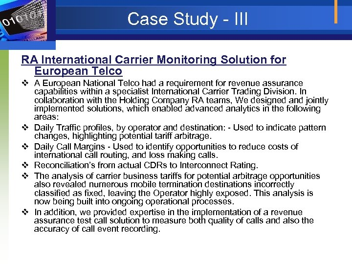Case Study - III RA International Carrier Monitoring Solution for European Telco v A