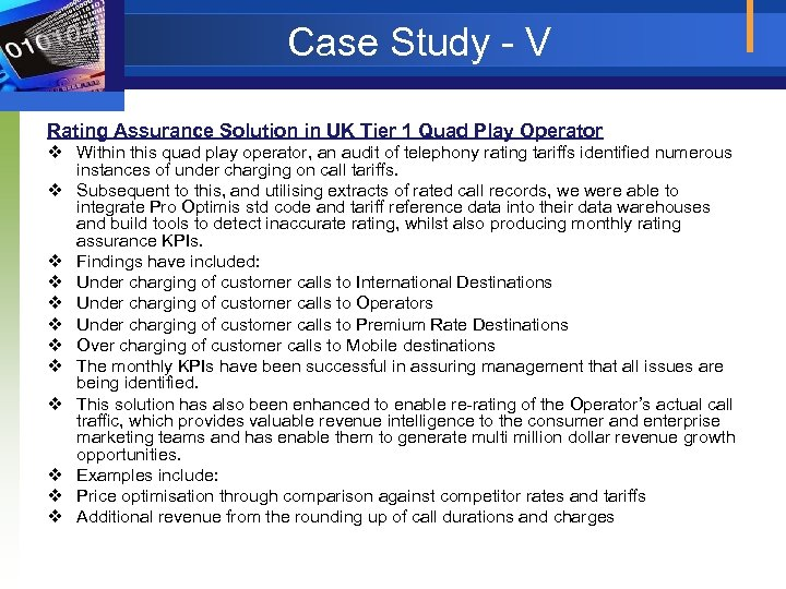 Case Study - V Rating Assurance Solution in UK Tier 1 Quad Play Operator