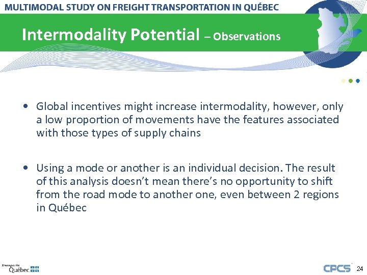 Intermodality Potential – Observations • Global incentives might increase intermodality, however, only a low