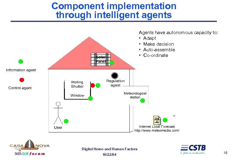 Component implementation through intelligent agents Agents have autonomous capacity to: • Adapt • Make