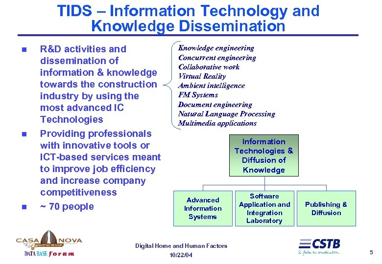 TIDS – Information Technology and Knowledge Dissemination n R&D activities and dissemination of information