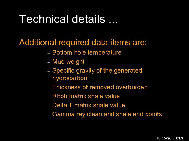 Technical details. . . Additional required data items are: – – – – Bottom