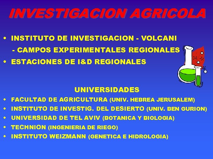 INVESTIGACION AGRICOLA • INSTITUTO DE INVESTIGACION - VOLCANI - CAMPOS EXPERIMENTALES REGIONALES • ESTACIONES
