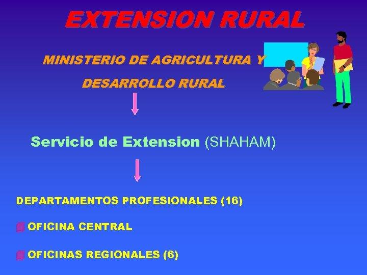 EXTENSION RURAL MINISTERIO DE AGRICULTURA Y DESARROLLO RURAL Servicio de Extension (SHAHAM) DEPARTAMENTOS PROFESIONALES