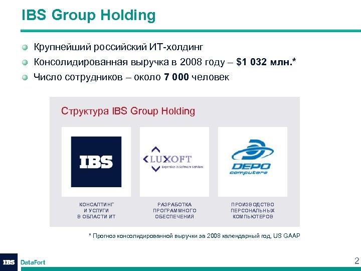 IBS Group Holding Крупнейший российский ИТ-холдинг Консолидированная выручка в 2008 году – $1 032