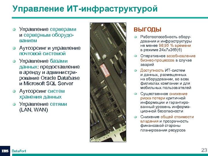 Управление ИТ-инфраструктурой Управление серверами и серверным оборудованием Аутсорсинг и управление почтовой системой Управление базами