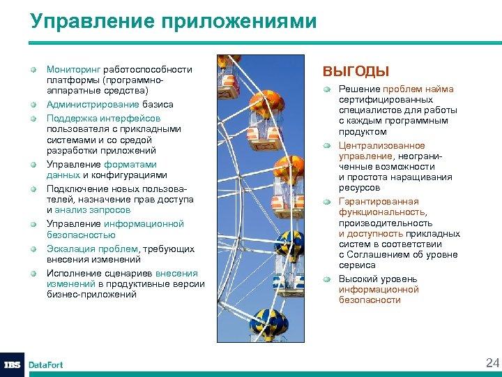 Управление приложениями Мониторинг работоспособности платформы (программноаппаратные средства) Администрирование базиса Поддержка интерфейсов пользователя с прикладными