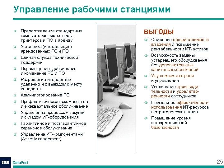 Управление рабочими станциями Предоставление стандартных компьютеров, мониторов, принтеров и ПО в аренду Установка (инсталляция)