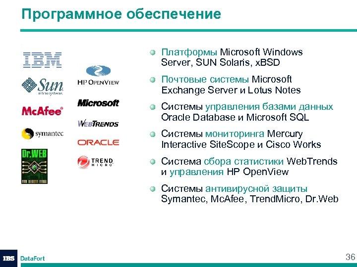 Программное обеспечение Платформы Microsoft Windows Server, SUN Solaris, x. BSD Почтовые системы Microsoft Exchange