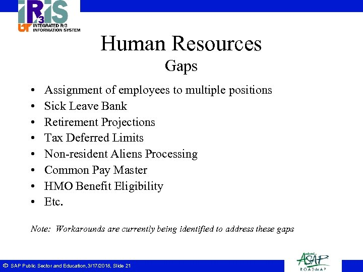 Human Resources Gaps • • Assignment of employees to multiple positions Sick Leave Bank
