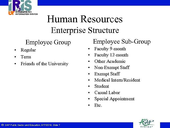 Human Resources Enterprise Structure Employee Sub-Group Employee Group • Regular • Term • Friends