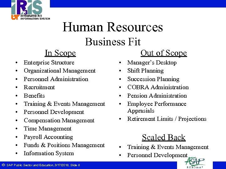 Human Resources Business Fit In Scope • • • ã Enterprise Structure Organizational Management