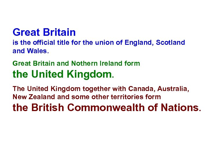 Great Britain is the official title for the union of England, Scotland Wales. Great